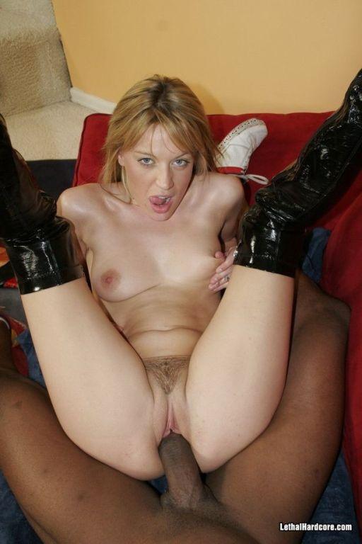 Blonde Holly Wellin sucks and fucks black big cock