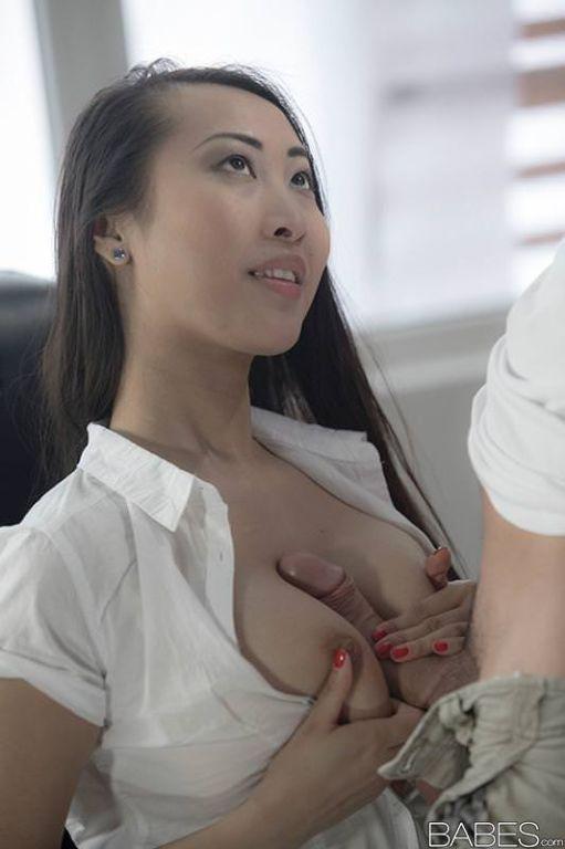Slutty asian office girl Sharon Lee fucks fo free
