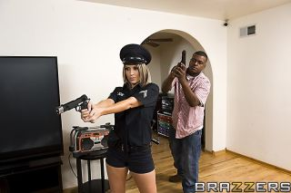 Busty police woman takes off her uniform for slopp