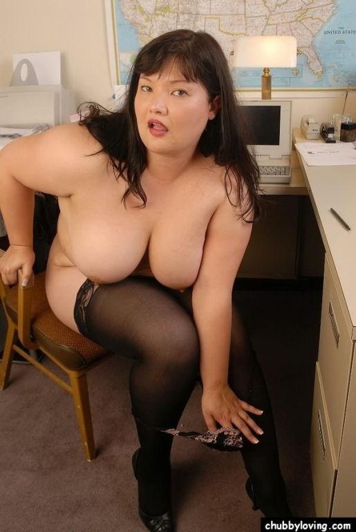 Busty fat secretary Kelly Shibari in stockings tea