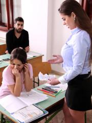 Lesbian teacher Cathy Heaven fucking schoolgirl by