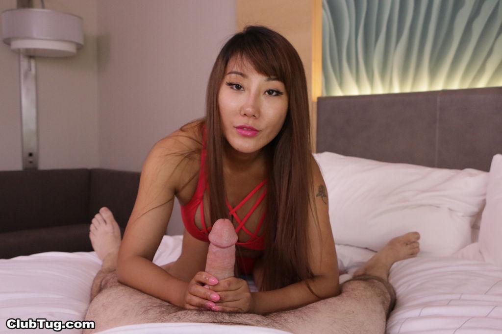 Sexy Asian slut Tiffany Rain playing with stiff pe