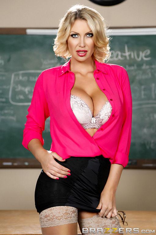 Busty naughty blonde teacher gets slammed in her c