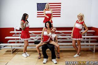 Busty brunette cheerleader throats fat cock and ha