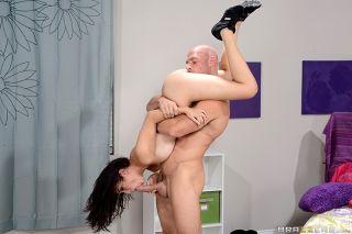 Creamy Asian girl seduces an older guy and bangs h