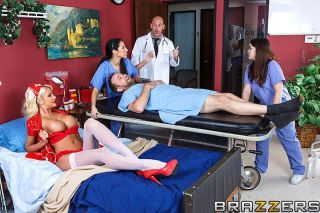 Girl in erotic costume under doctors uniform seduc
