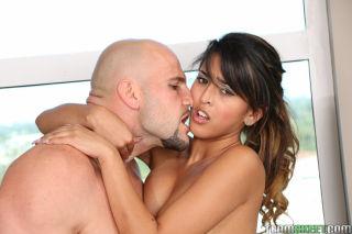 Latina teen Sophia blows big cock before taking ha