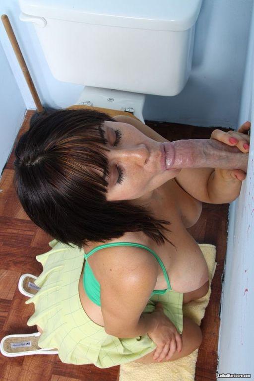 Horny Sasha Sweet sucking a big penis at gloryhole