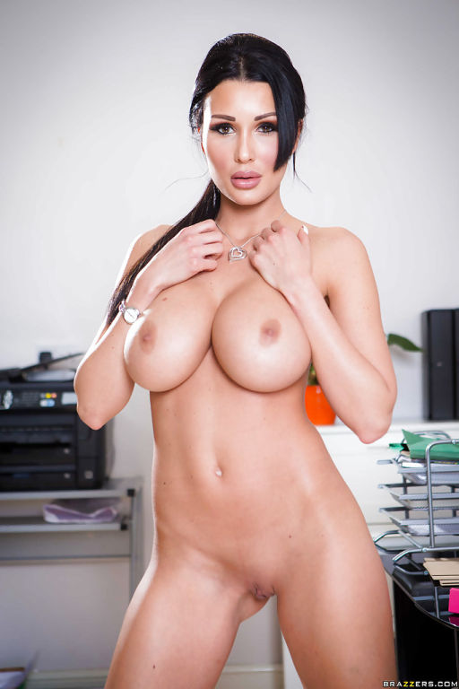 Buxom brunette office babe Patty Michova flaunting