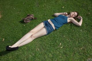 Lindsay Bare walks in the park