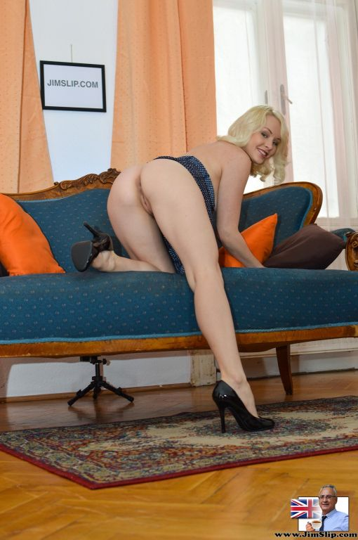Tempting blonde cutie Lola teasing with her perfec