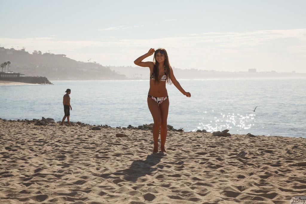 Babe in a bikini teasing