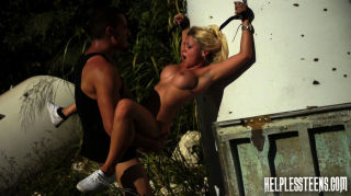 Blonde teen hitchhike traveler gets bound gagged a