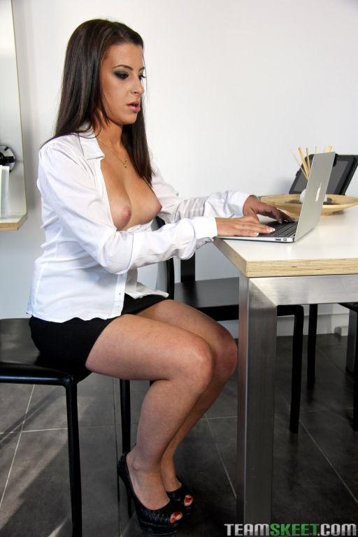 Busty latina secretary seduced by her boss