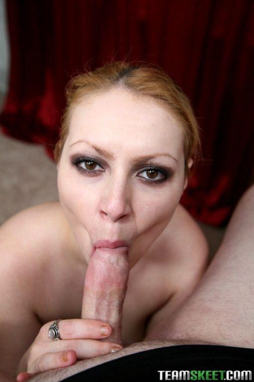 Big titty redhead Lily Lovette pov blowjobs cock a