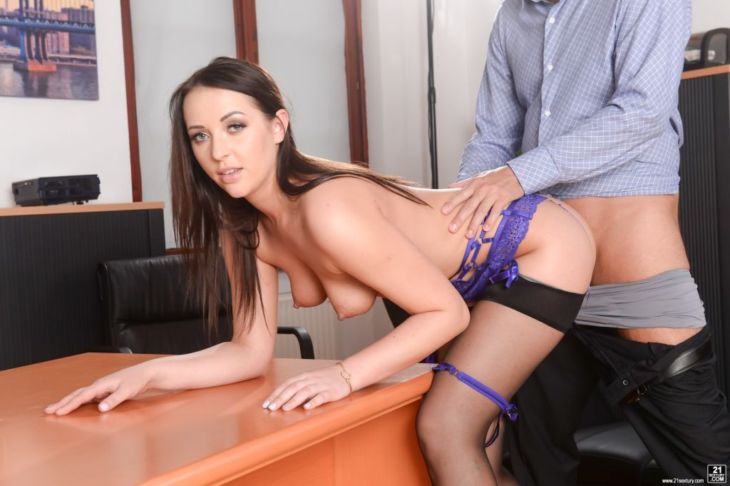 Slutty secretary Carolina June gets hit on by her