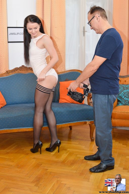 Stockinged brunette babe teasing a senior with her