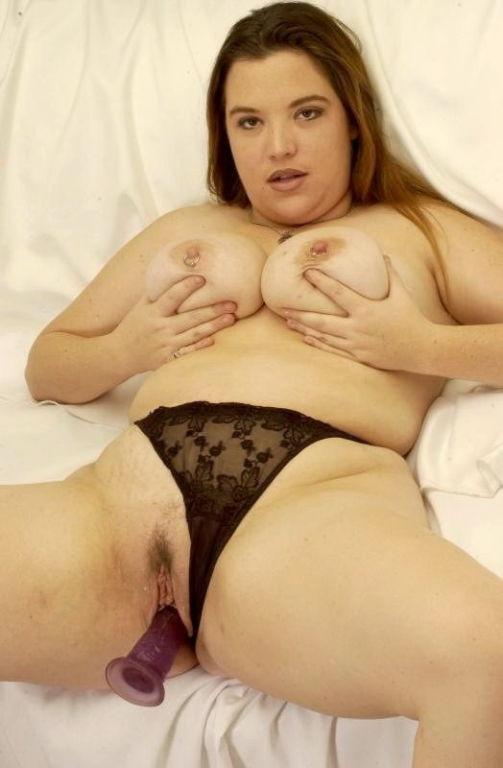Busty plumper in black panties teasing and masturb