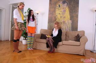 Teen Kattie Gold and girlfriend seduced by lesbian