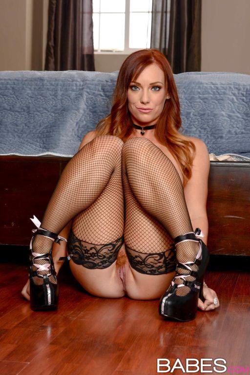 Busty rock hard redhead in lingerie