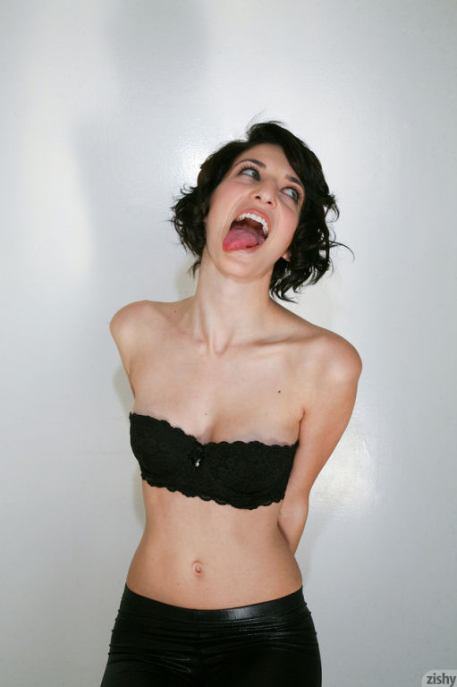 Beauty slim babe Molly Berardi posing and teasing