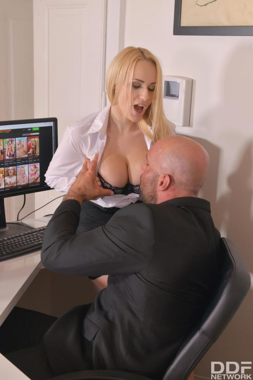 Busty thick office blonde rides dick