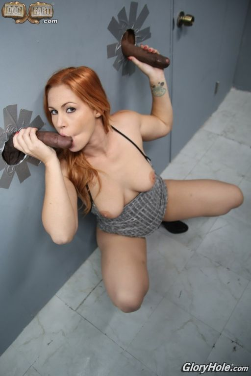 Redhead Edyn Blair suckin black cocks at gloryhole