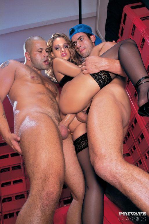 Forbiden anal threesome fantasy with double penetr