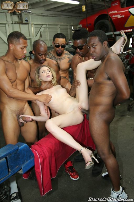 Tiny blonde slut Angel Smalls gangbanged by black