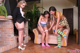 Teens Kate Lynn and Kari K seduced by mature lesbi