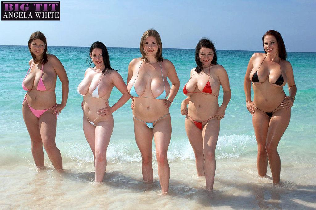 Big boob paradise in bikini lesbian orgy on the eb