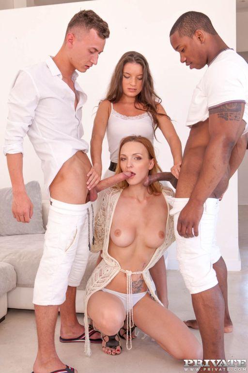 Interracial orgy with DP fucking of Anita Bellini