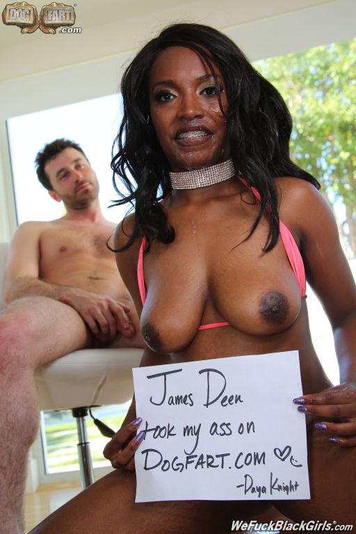 Ebony slut receive facial cumshots