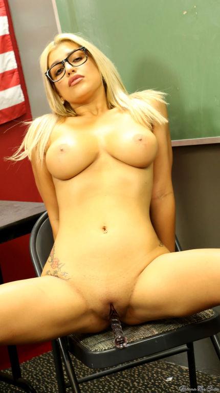 Perfect busty teacher Briana Lee stripping an a cl