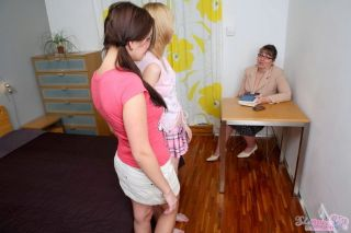Teen Kirsten Plant and friend taught by lesbo matu