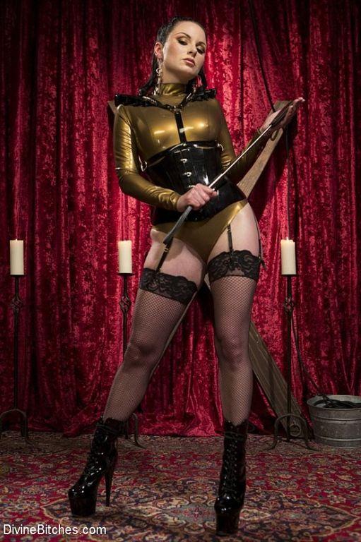 Veruca James stockings and corset femdom strapons