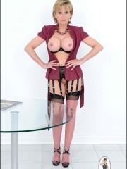 Sexual milf Lady Sonia in black stockings
