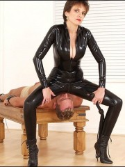 Rubber catsuit mistress MILF from Lady Sonia