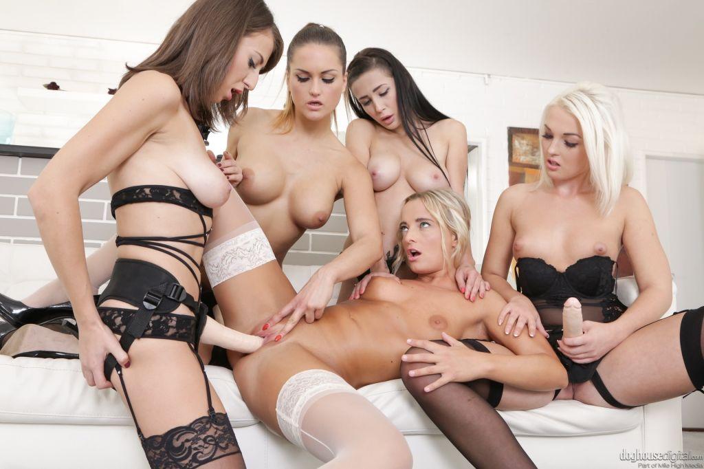 Young lesbian gang bang any girl could ask fo