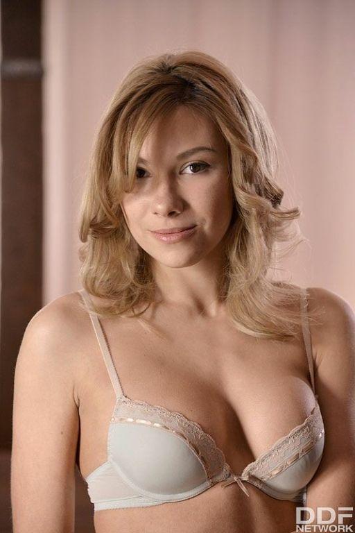 Karina D longlegged blonde in tan stockings finger