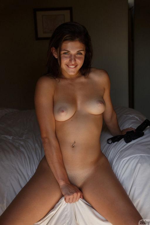 Firm brunette strips off her lingerie