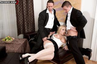 Curvy secretary Angel Wicky bares big tits in dp t