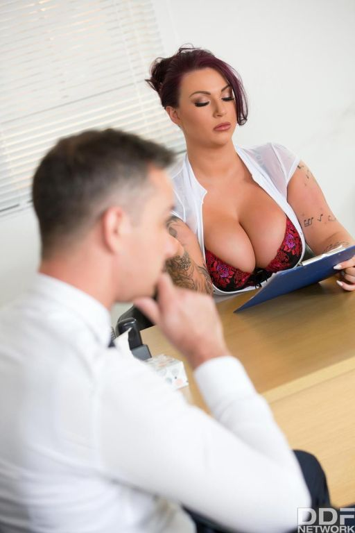 Stunning busty secretary fucked at work