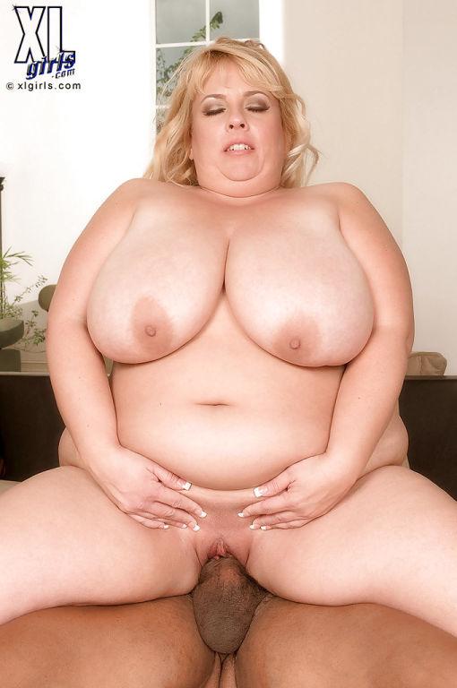 Big titted fat blonde cums hard in interracial sex