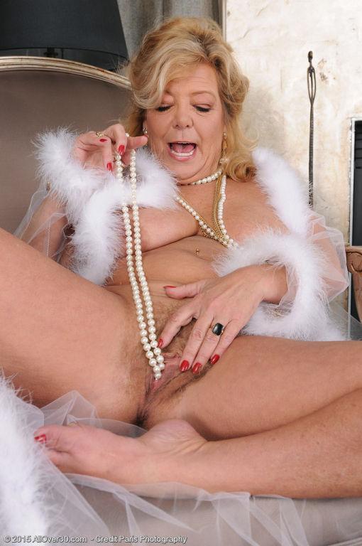 52 Year Old Karen Summer sprips off her white ling