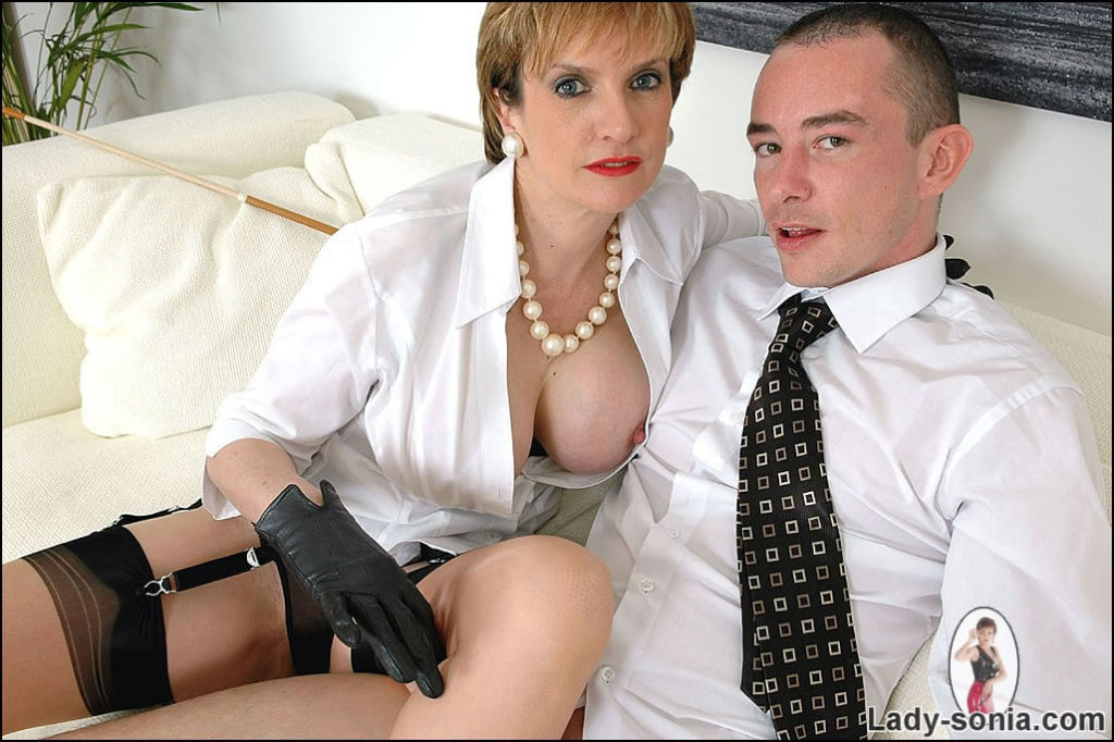 Dominating female in blouse and gloves Lady Sonia