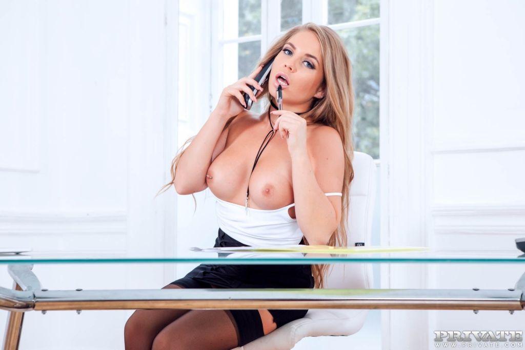 Alessandra Jane Blonde Secretary fucks boss on her
