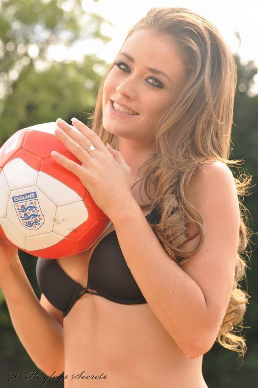 Football fanat Jess Impiazzi stripping outdoors