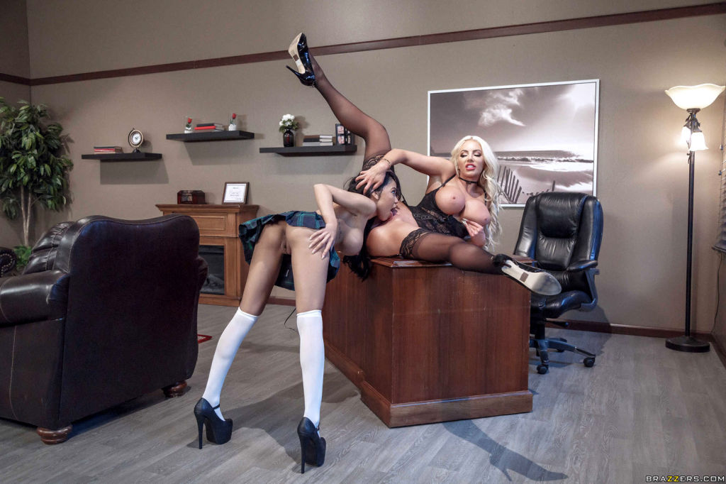 Nicolette Shea seduces busty student Shay Evans in