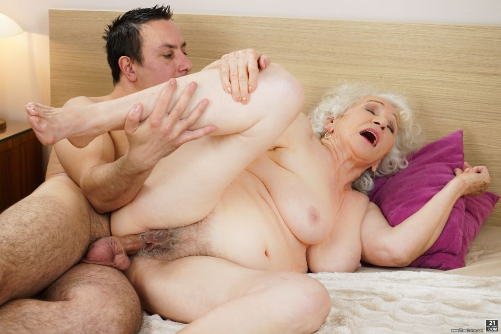 Busty granny Norma shared a bed with young Rob